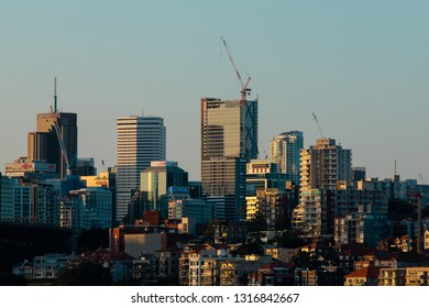 Sydney, Australia - January 14, 2019: North Sydney skyline with sunset light.