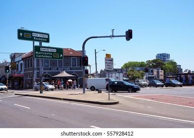 SYDNEY, AUSTRALIA - JANUARY 16, 2017: Traffics at the main road in Newtown suburb