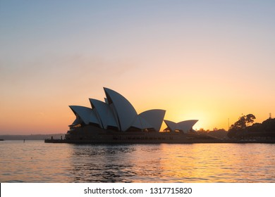 Sydney, Australia - January 16, 2019: Sydney Opera House view during summer sunrise.