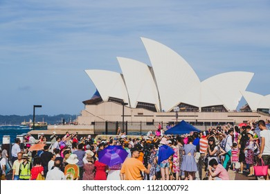 SYDNEY, AUSTRALIA - January 1st, 2015: crowd gathering at The Rocks with view over the Sydney Opera House