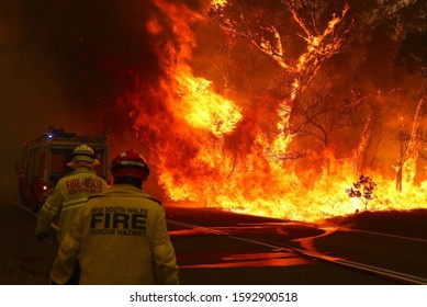 SYDNEY, AUSTRALIA - January 20, 2020: Fire and Rescue personal run to move their truck as a bushfire burns next to a major road and homes on the outskirts of the town of Bilpin on December 19, 2019