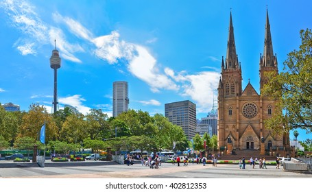 Sydney, Australia - January 23 : View of Sydney skyline with Sydney Tower and St Mary's Cathedral in Sydney on January 23, 2015.