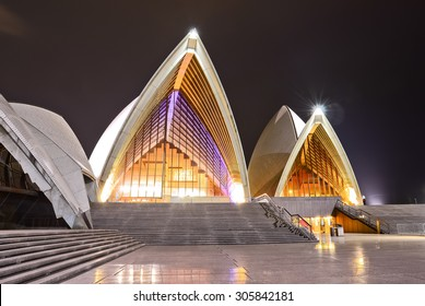 Sydney, Australia - January 24: Sydney Opera House at night on January 24, 2015 in Sydney, Australia. The Sydney Opera House is one of the most famous performing arts centers in the world.