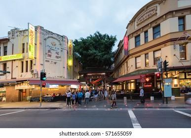 Sydney, Australia - January 26, 2017: Chinatown in Sydney on sunset.