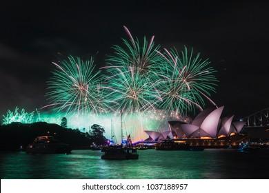 SYDNEY, AUSTRALIA - JANUARY 26, 2018: Sydney Opera House with fireworks for Australia Day.