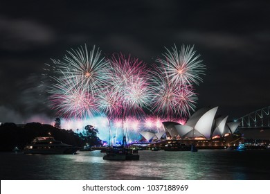 SYDNEY, AUSTRALIA - JANUARY 26, 2018: Sydney Opera House with fireworks for Australia Day.