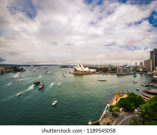 Sydney, Australia -January 26, 2018: Australia Day Celebrations in Sydney Harbour - View from Sydney Harbour Bridge.