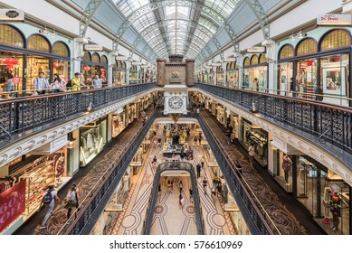 Sydney, Australia - January 27, 2017: People shop at Queen Victoria Building (QVB), a late nineteenth-century building designed by the architect George McRae.