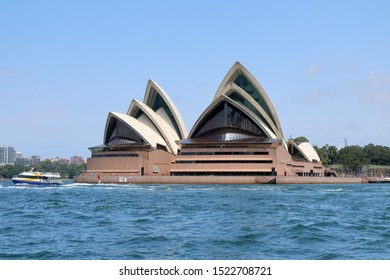 SYDNEY, AUSTRALIA - JANUARY 28, 2019: Opera House designed by Danish architect Utzon and world famous for its roof construction in Sydney, Australia on January 28, 2019