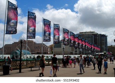 SYDNEY, AUSTRALIA, January 3, 2017: Banners advertising New Year's Eve festivities on Pyrmont Bridge in Darling Harbour, Sydney