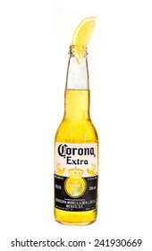 SYDNEY, AUSTRALIA -JANUARY 5, 2015: A Corona Extra Beer, on white background. Corona is the most popular  beer in Australia.