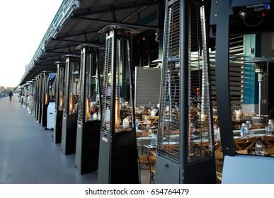SYDNEY, AUSTRALIA - JULY 11, 2016: Woolloomooloo wharf luxury dining area. Criniti's Woolloomooloo is an Italian restaurant on 2/6 Cowper Wharf Rd