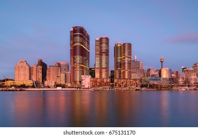 SYDNEY, AUSTRALIA - July 11, 2017 : Sydney, Darling Harbour on sunset, adjacent to the city center of Sydney and also a recreational place in Sydney central business district