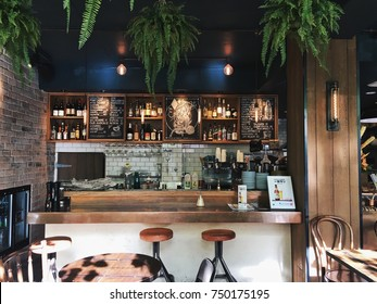 Sydney, Australia - July 11, 2017: Calabur cafe & diner serves fresh roasted coffee and good fusion asian food in the day time. This cozy cafe also serves dinner with great cocktails in the night time