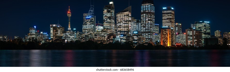 Sydney, Australia- July 18, 2017: Mesmerizing detailed Waterfront Skyline of Sydney's Central Business District with major modern landmarks of Sydney at blue hour in long exposure photography.