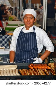 Sydney, Australia - July 19, 2014: Sausage Chef at the Saturday Morning Market in the  Rocks district.