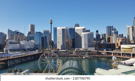 SYDNEY. AUSTRALIA - July 2016: Image of Darling Harbour and the Sydney skyline