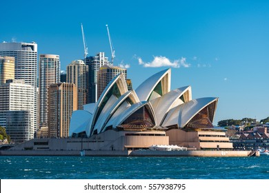Sydney, Australia - July 23, 2016: Sydney Opera house close up with office buildings of Sydney Central Business District on the background. Circular Quay, Sydney Harbour