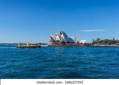 Sydney, Australia - July 23, 2017: Sydney Opera house and Sydney transport ferry public transport in Circular Quay