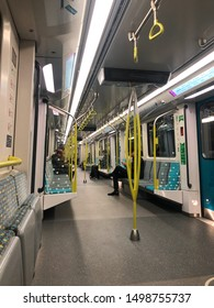 Sydney, Australia - July 23, 2019: Interior view of Sydney Metro with few people sitting.