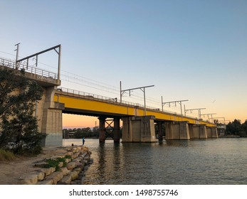 Sydney, Australia - July 28, 2019: John Whitton Bridge sunset view from Meadowbank.