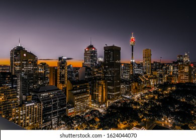Sydney, Australia, July 6 2014, Hide Park Sydney at night view from above