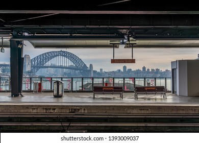 Sydney / Australia - Jun 1 2018 - View from the Darling Harbour Railway track with the Sydney Harbour in the background