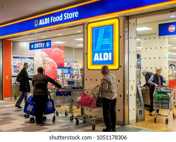 Sydney, Australia - Jun 16, 2017: Aldi supermarket store located in Chatswood Westfield Centre. Aldi is a German multinational that has grown popular by offering low prices on high quality products.