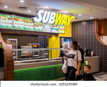 Sydney, Australia - Jun 16, 2017: Subway submarine sandwich store in Chatswood Westfield Center. This is an American global franchise business with more than 44,000 restaurants across 112 countries.