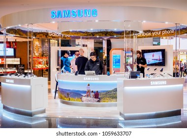 Sydney, Australia - Jun 16, 2017: Samsung cellphone booth at the Chatswood Westfield Center. Android smartphones are sold here and Samsung is a global supplier to this sector of the consumer market.
