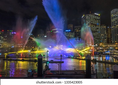 Sydney, Australia - Jun 2, 2017: Magicians of the Mist water light show at Darling Harbour during Vivid Sydney, the annual festival of light, music and ideas