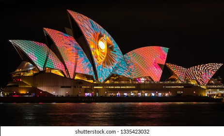 Sydney, Australia - Jun 2, 2017: Sydney Opera House illuminated during Vivid Sydney, the annual festival of light, music and ideas