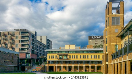 Sydney, Australia - Jun 20, 2016: Dramatic white clouds and blue sky hovering over the Quadrangle Building of the University of New South Wales, Kingsford Campus.