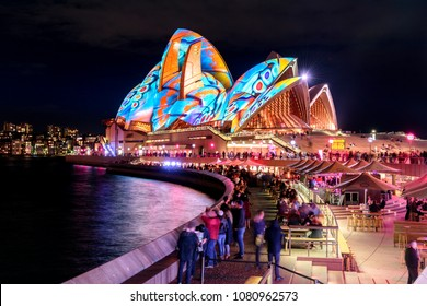 Sydney, Australia - June 01, 2017: The Sydney Opera House has a colorful design projected onto its sails at night as part of the Vivid Sydney festival.
