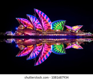 Sydney, Australia - June 01, 2017: The Sydney Opera House has a colorful design projected onto its sails at night as part of the Vivid Sydney festival