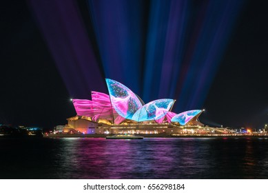 Sydney, Australia - June 05, 2017: The Sydney Opera House has a colorful design projected onto its sails at night as part of the Vivid Sydney festival.