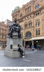 Sydney, Australia - June 15th 2015: Statue of Queen Victoria at the entrance to the Queen Vistoria Shopping mallThe queens statue can be seen in several places in Sydney.