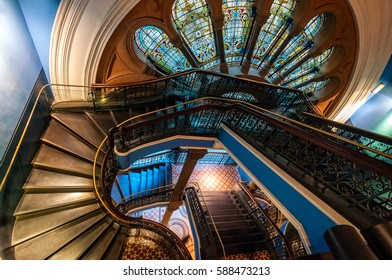 Sydney, Australia - June 16, 2016: Detail of the historical staircase in Queen Victoria building in Sydney, almost untouched from last century with beautiful stained glass and exquisite craftsmanship.