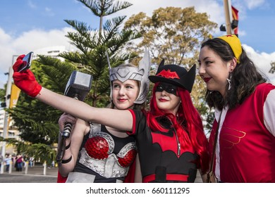 Sydney, Australia June 18, 2016: Selfie taken by Cosplay fans at Olympic Park.