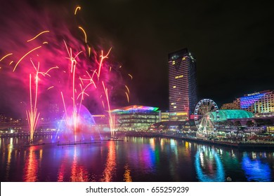 Sydney, Australia - June 2, 2017, Magicians of the Mist water light show and fireworks at Darling Harbour during Vivid Sydney, the annual festival of light, music and ideas.
