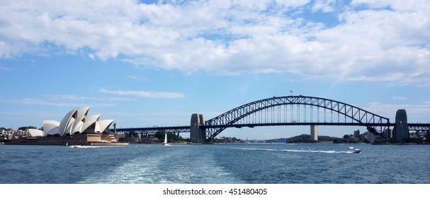SYDNEY, AUSTRALIA - JUNE 20, 2016: Sydney Opera House view in Sydney, Australia. The Sydney Opera House is a famous arts center. It was designed by Danish architect Jorn Utzon.