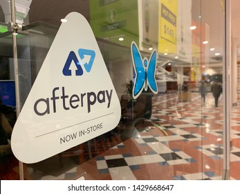 Sydney, Australia - June 20, 2019: Afterpay sign on a shopfront window. Afterpay is a buy now pay later service provider.