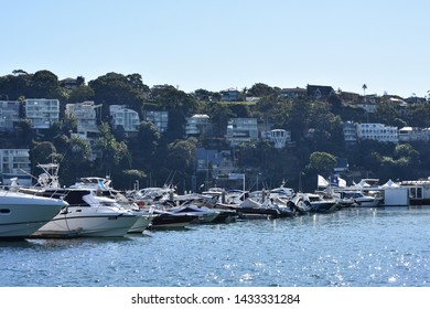 Sydney Australia - June 21 2019 - Yachts with town background in The spit