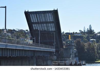 Sydney Australia - June 21 2019: The Spit Bridge opens up across the Middle Harbour at The Spit