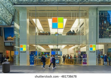 Sydney, Australia - June 26, 2016: View of pedestrians passing by Microsoft flagship store in Sydney during daytime.