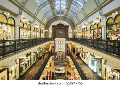 Sydney, Australia - June 27, 2016: View of interior of Queen Victoria Building, Sydney with people going shopping. The building has over 180 boutiques, jewellery shops and cafes.