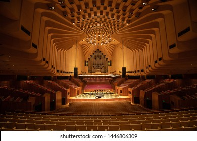 SYDNEY, AUSTRALIA - JUNE 28th, 2019; The Sydney opera inside the concert hall. The Concert hall has a capacity of over 2000 people.