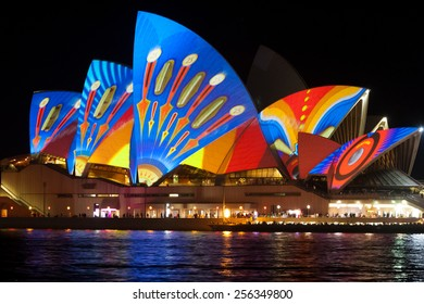 SYDNEY, AUSTRALIA - JUNE 9, 2013: Sydney Opera House during Vivid Sydney festival. Vivid Sydney is an outdoor annual cultural event featuring immersive light installations and projections.
