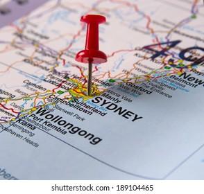 Sydney  in Australia in the map