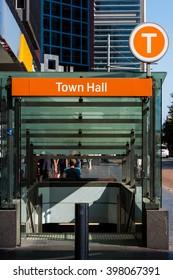 Sydney, Australia - Mar 26, 2016: Town hall station entrance in Sydney, Australia. New Sydney Trains sign for Town Hall station